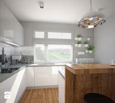"""Aranżacje wnętrz - Kuchnia: Salon, kuchnia, przedpokój w domu jednorodzinnym - Średnia kuchnia, styl skandynawski - Pracownia Aranżacji Wnętrz """"O-kreślarnia"""". Przeglądaj, dodawaj i zapisuj najlepsze zdjęcia, pomysły i inspiracje designerskie. W bazie mamy już prawie milion fotografii! Minimal Kitchen Design, Kitchen Design, Kitchen Shelves, Scandinavian Interior Design, Gray And White Kitchen, Kitchen Dining, Grey Kitchens, Home Decor, Minimalist Kitchen"""