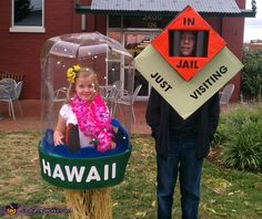 Hawaii Snow Globe and Monopoly in Jail - Halloween Costume Contest via @costumeworks
