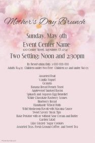 MotherS Day Promo Mothersday Flyer Brunch Event Spring Pink