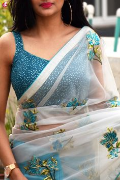 Buy Off White and Blue Tissue Georgette Half and Half Saree - Sarees Online in India Half Saree Lehenga, Saree Look, Saree Dress, Anarkali, Fancy Blouse Designs, Saree Blouse Designs, White Saree Blouse, Saree Styles, Blouse Styles