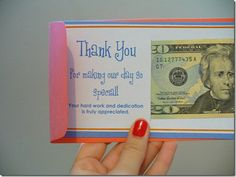 Great way to distribute tips at a restaurant.  I'm going to add my business info to the card as well!