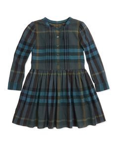 Button-Front Check Dress, Dark Forest Green, 4Y-14Y by Burberry at Neiman Marcus.