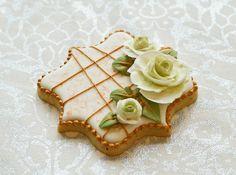 Winter Wedding Rose Cookie by  Lucy (Honeycat Cookies)