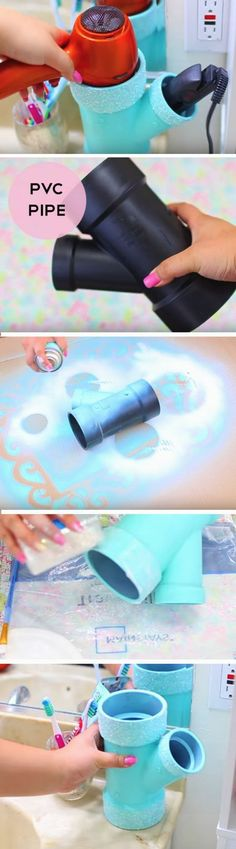 rohr mit blauem spray besprühen, haartrockner, badezimmer