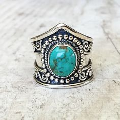 With such beautiful and intricate detailing, a bright and bold turquoise stone all embedded in sterling silver, our Tribal Turquoise Ring is an incredible piece. Buy Turquoise Rings at Indie and Harper Stone Jewelry, Boho Jewelry, Women Jewelry, Jewelry Rings, Fashion Jewelry, Jewelry Watches, Jewelry Model, Stylish Jewelry, Jewlery