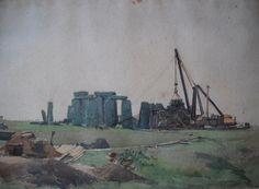 Watercolour by William Washington, 'Stonehenge' Stonehenge, Watercolour, Washington, Artist, Painting, Watercolor, Watercolor Painting, Painting Art, Paintings