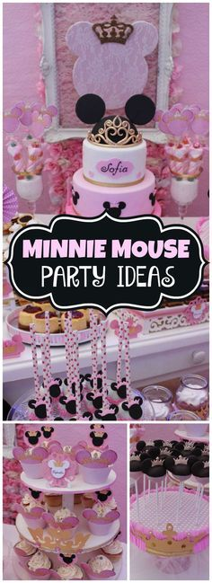 Loving this pink and black Minnie Mouse princess party! See more party ideas at CatchMyParty.com!