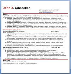 hvac technician resume sample. Resume Example. Resume CV Cover Letter