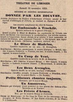 Théâtre de limoges, deuxième et dernière représentation donnée par les Zouaves [...] Les Zouaves remplissent les rôles de femmes, Le 20 Décembre, 1857 - Bfm Limoges