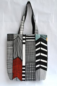 Hilly G./minthouse - Marimekko Ruutukaava Geometric Lines Tote Diy Tote Bag, Geometric Lines, Marimekko, Printed Bags, Cloth Bags, Cotton Tote Bags, Fashion Bags, Purses And Bags, Print Patterns