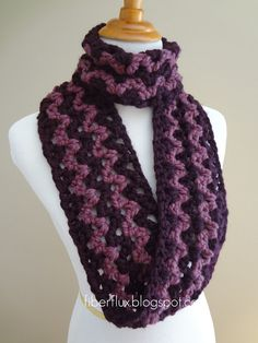 Free Crochet Pattern...Pinot Noir Infinity Scarf - super fast to make since it's done in bulky yarn