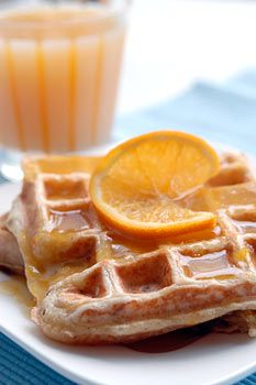 Orange Waffles with Orange Sauce -- saving this for the day I finally conquer yeast!