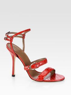5c1e78968629 Gucci - Red Gg Patent Leather Sandals - Lyst