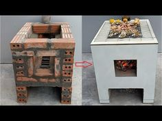 How to build a multi purpose oven with cement and brick at home - YouTube Rocket Stove Design, Tiny Log Cabins, Bamboo House, Build Your Own House, Cement Crafts, Rocket Stoves, Diy Fire Pit, Wood Burner, Summer Kitchen