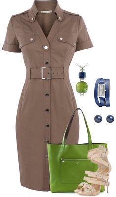 Office sets for Irene. Beige, green & blue. Shirtdress. Safari Dress, Work Wardrobe, Khaki Shirt Dress, Cotton Shirt Dress, Karen Miller Dress, Military Shirt, Pretty Dresses, Beautiful Dresses, Shirtdress