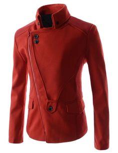 Man Diagonal Zip-up and Rider Design Casual Slim Jacket at Amazon Men's Clothing store: