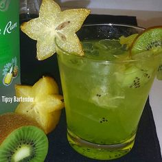 Tipsy BartenderSTARFRUIT WITH A BANG  2 oz. (60ml) Pineapple Rum 1/2 oz. (15ml) Malibu Rum 3-4 oz. (90-120ml) Starfruit Juice Shake and pour into ice filled glass Top with 1 oz. (30ml) Midori