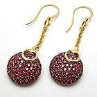 Gucci Horsebit Cocktail Pave Ruby Dangle Earrings Solid 18K Gold 7570 Retail $4,899 ~For more info please go to: http://www.diamondsandgemstones.net/gucci/#