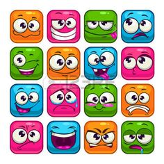 colorful: Funny colorful square faces set, cartoon vector avatars