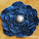 Denim: Use a paper template to cut several different sizes of a simple flower shape, hold stack in place with a pretty button center.  Bow Dazzling Volunteers, add a single prong curl clip with a felt circle for a cute hair or headband accessory.