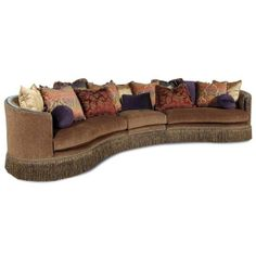 Traditional Chenille Fabric Caramel Skirted Sectional