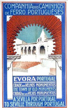 Souzza - Evora - vintage poster featuring Portugal