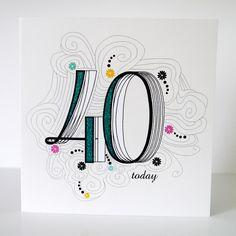 40th Birthday Card - Folksy