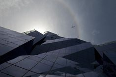 The western facade's glass shards.