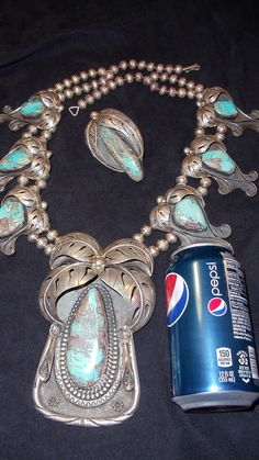 ESTATE Vintage Bisbee TURQUOISE SQUASH BLOSSOM NECKLACE with MATCHING RING