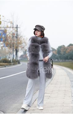 Fox fur vest, made of superb Fox fur. Soft, and dense fur offers a luxuriant appearance. Long line cut with horizontal fur strips design. Grey Fox, Gray, Fox Fur Vest, Japanese Beauty, Fur Coat, Winter Jackets, Collections, Shopping, Fashion