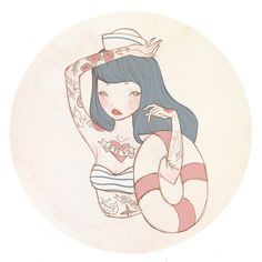 More Illustrations in RED at: http://www.pinterest.com/oddsouldesigns/illustrate-the-rainbow-red/ #sailor #tattoos
