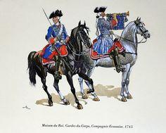 Compagnie écossaise, 1745 (dessin du colonel Dugué Mac Carthy, Membre de la Sabretache). Jusqu'à la dissolution des Gardes du Corps du Roi, en 1791, on distingua toujours la (première) Compagnie Ecossaise des Compagnies Françaises (3). Si vous recherchez l'Etat nominatif des Gardes du Corps en 1791, ciquez sur l'image !