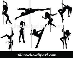 Pole Dancer Silhouette Vector Graphics Pack - Silhouette Clip Art