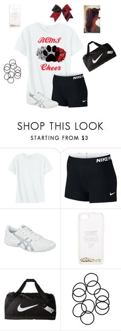 """""""Cheer Tryouts Next Week!"""" by jweber-14 ❤ liked on Polyvore featuring Hanes, Chassè, NIKE, Asics and Kate Spade"""