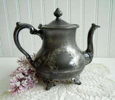 Antique Pairpoint Tea Pot Quadruple Plate 355 by mamiezvinta