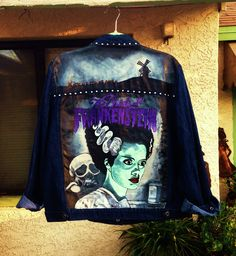 The Bride of Frankenstein custom painted on the back of a denim jacket by @bleudoor on Instagram