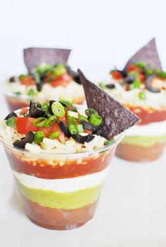 Here's a great way to serve 7 layer dip at a party that can be easily transported in a cake pan or muffin pan.  Layer the ingredients as listed in a clear disposable cup and ENJOY!