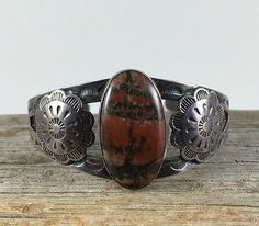 Amazing Old Pawn Navajo Sterling Silver & Petrified Wood Bracelet!!
