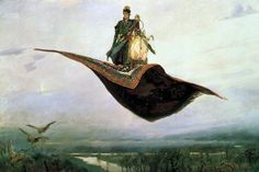 """ART SALE-Man on Flying Carpet-Giclee print on Canvas -Overall size-26.5"""" x 18.5"""""""