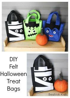 DIY Felt Halloween Treat Bags Vampire trick or treat bags treat bags Mummy monst., Diy Abschnitt, treats mummy DIY Felt Halloween Treat Bags Vampire trick or treat bags treat bags Mummy monst. Halloween Taschen, Dulceros Halloween, Halloween Treats For Kids, Halloween Sewing, Halloween Trick Or Treat, Diy Halloween Treat Bags, Halloween Patterns, Halloween Season, Frankenstein