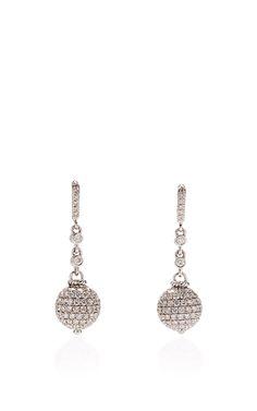 18K White Gold and White Diamond Drop Earrings - Giovane Resort 2016 - Preorder now on Moda Operandi