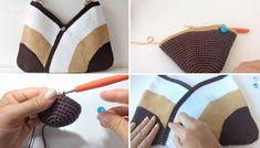 Gehaakte tas - Easy - Design Peak - picture for you Crochet Mittens, Crochet Gifts, Easy Crochet, Knit Crochet, Easy Knitting, Knitting Patterns, Simple Bags, Easy Bag, Crochet Handbags