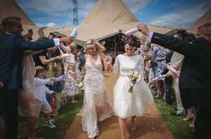 Image by Guy Collier Photography #wedding #tipi #brides #confetti