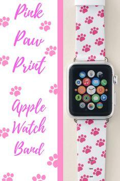 Shop Pink Paw Print Pattern Apple Watch Band created by Paw_Print_Gifts. Cute Apple Watch Bands, Apple Watch Bands Fashion, Best Apple Watch, Gold Apple Watch, Apple Watch Series, Best Mothers Day Gifts, Paw Prints, New Ipad, New Iphone