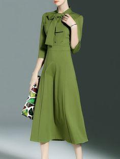 Shop Midi Dresses - Simple Stand Collar Plain 3/4 Sleeve Midi Dress online. Discover unique designers fashion at StyleWe.com.