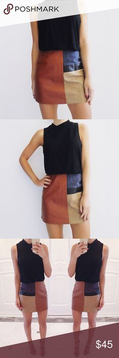 • Vicky Leather & Suede Colorblock Skirt Leather + suede colorblock…