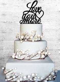 Love you more Wedding Cake Topper Monogram cake von CoralMintDesign, $20.00