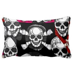 Rest your head on one of Zazzle's Skull decorative & custom throw pillows. Skull Pillow, Black Skulls, Pink Black, Decorative Throw Pillows, Bling, Stylish, Pattern, Gifts, Vintage
