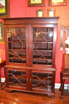 Mahogany China Cabinet / Victorian China Cabinet  Something like this could be nice if painted...