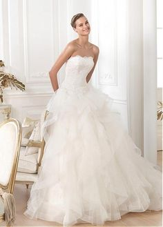 Glamorous Lace Strapless Neckline Natural Waistline Ball Gown Wedding Dress